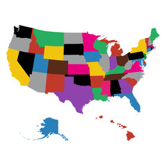 Set of US state maps