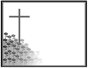Kreuz auf Berg voller Blumen Rosen