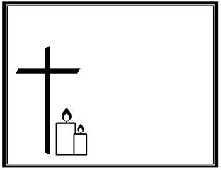 Traueranzeige mit Kreuz und brennenden Kerzen