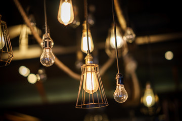 Decorative antique edison style light bulbs.