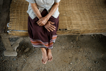 Hands and Feet of senior woman