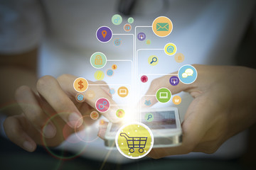 shopping cart with application software icons , shopping online