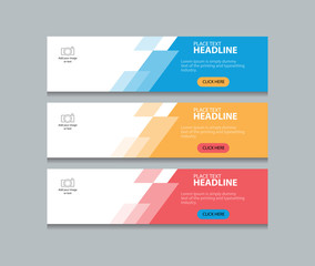 three color abstract web banner design template
