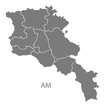 Armenia regions Map grey