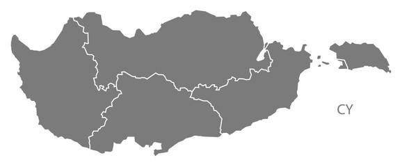 Cyprus regions Map grey