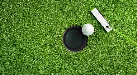 Poster Golf Golfball beim Putten von oben