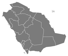 Saudi Arabia regions Map grey