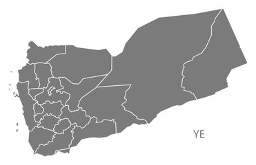Yemen governorates Map grey