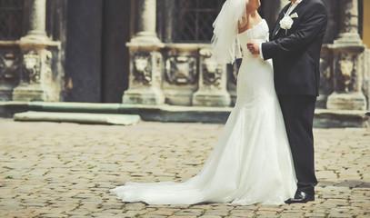 Happy wedding couple together.