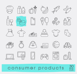 Set of shopping icons. Various shopping products. Premium quality outline symbol collection.