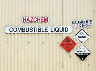 Danger warning signs on building entrance
