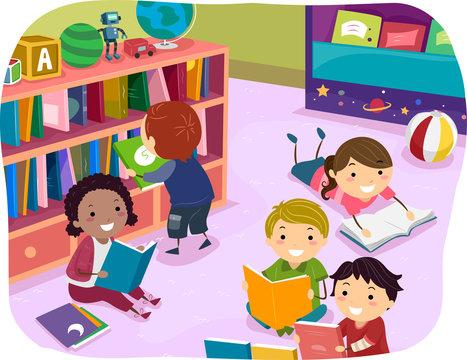 Stickman Kids Reading Time Preschool