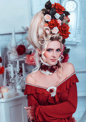.portrait of a beautiful lady in a baroque style , vintage atmosphere with candles and flowers in the head , hip toning , creative color