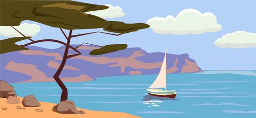 Seascape, sailboat, palm trees, vector illustration