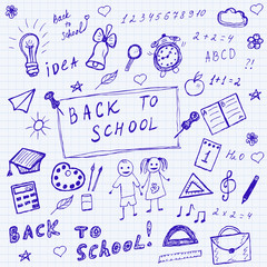 Back to school doodles. Hand drawn school icons set. Sketch school icons set. Vector illustration.