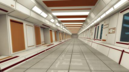 Futuristic hallway. Interior concept design