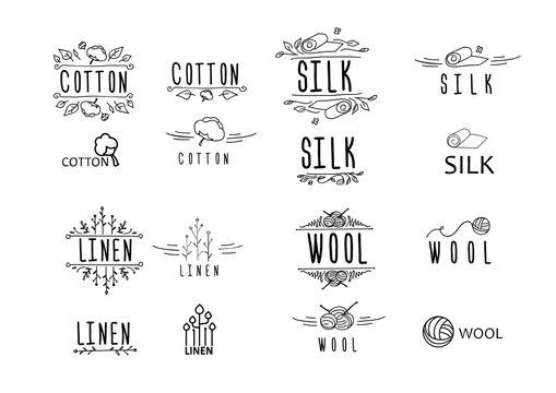big cloth (materials) logo set - linnen, cotton, wool, silk; geometrical, hand-drawn, vingete; vector