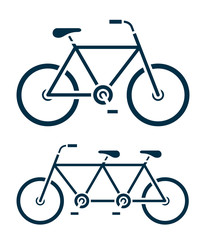 Two different bicycle icons, one a tandem bike