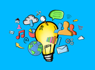 Hand drawn lightbulb and multimedia icons
