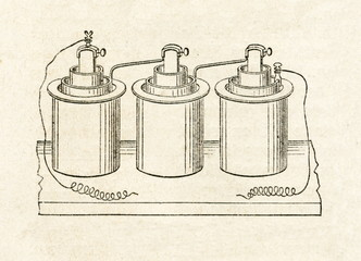Bunsen cells with internal carbon (from Meyers Lexikon,  1895, 7/48)