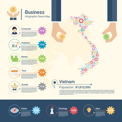 Business Infographic with gears,Vietnam map