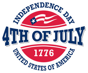 Fourth of July vintage label commemorating United States Independence Day