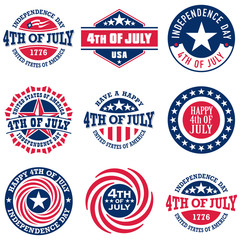 Collection of Fourth of July vintage labels commemorating United States Independence Day