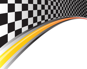 Race background checkered and orange line design vector illustration.