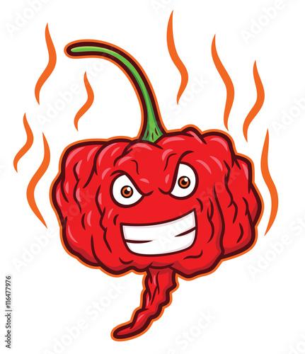 carolina reaper hottest chili pepper cartoon stock image and
