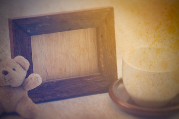 Wood frame and old paper effect, Still life style