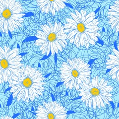 White daisies on a lace background