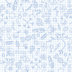 Seamless pattern with hand drawn icons on the theme of biology,dark blue outline on notebook sheet in a cage