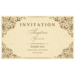 Wedding Invitation cards in an old-style brown and gold