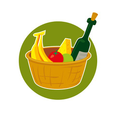 Straw picnic basket with food, vector illustration