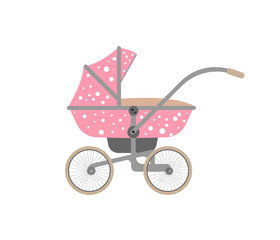 Pink baby carriage with polka dots
