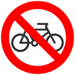 Stop or ban sign with bicycle icon isolated on white background. Cycling is prohibited vector illustration. Riding bike is not allowed image. Bicycles are banned.