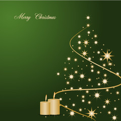 Merry Christmas background gold tree greeting card