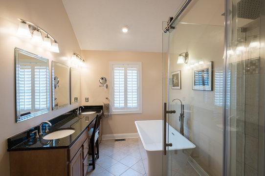 Modern bathroom with freestanding tub and vanity