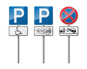 Set of 3 road signs, isolated on white background. Paid parking. EPS10 vector illustration.