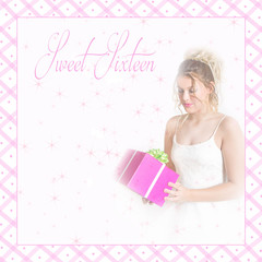 Sweet sixteen graphic/photo background in soft pinks.  Teen girl holds a present wearing a white party dress.  Lattice pink border and text area filled with star-like flares.