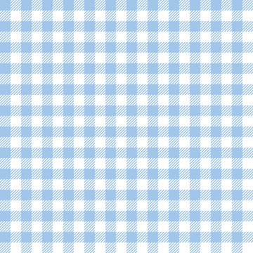 Seamless Baby Blue Checkered Plaid Fabric Pattern Texture