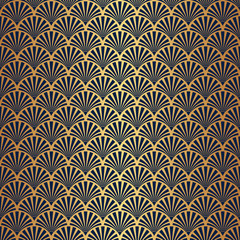 Seamless Art Deco Pattern with Gold Gradient