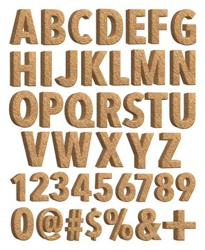 Soil alphabet with number and sign in 3D rendered on white background.