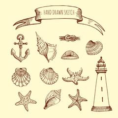 Vector set: seashells, Starfish, lighthouse, anchor, knot, flag. Hand drawn sketch