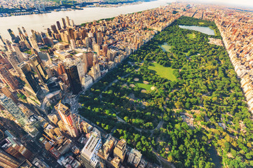 Aerial view of Manhattan looking north up Central Park Wall mural