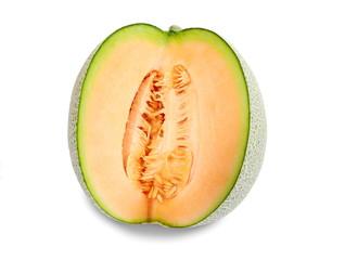 Slices orange Melon fruit isolated on the white background.