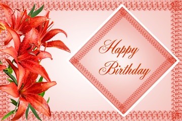 Happy Birthday greeting card with red lilies