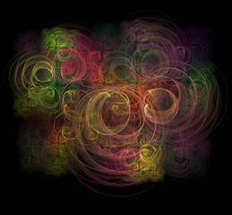 Abstract multicolored fractal print on a black background