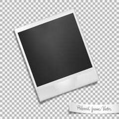 Polaroid frame on transparent background. Isolated photo template with shadow effect. Vector illustration