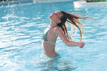Ten years girl in pool